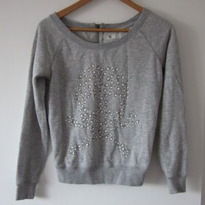*3/30$*Garage - Light Grey Sweater with Death Sign